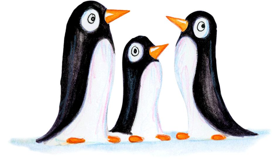 Three helpful penguins