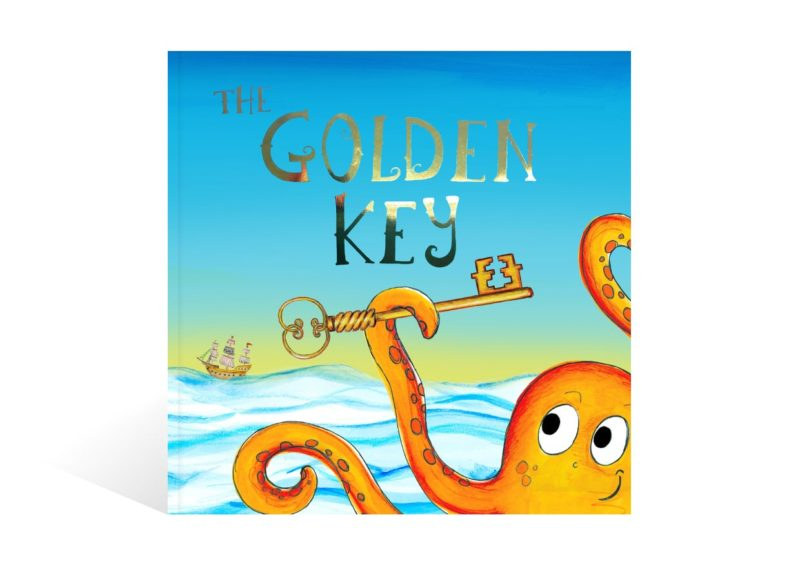 The front cover of the personalised pirate adventure children's book The Golden Key from Bang on Books