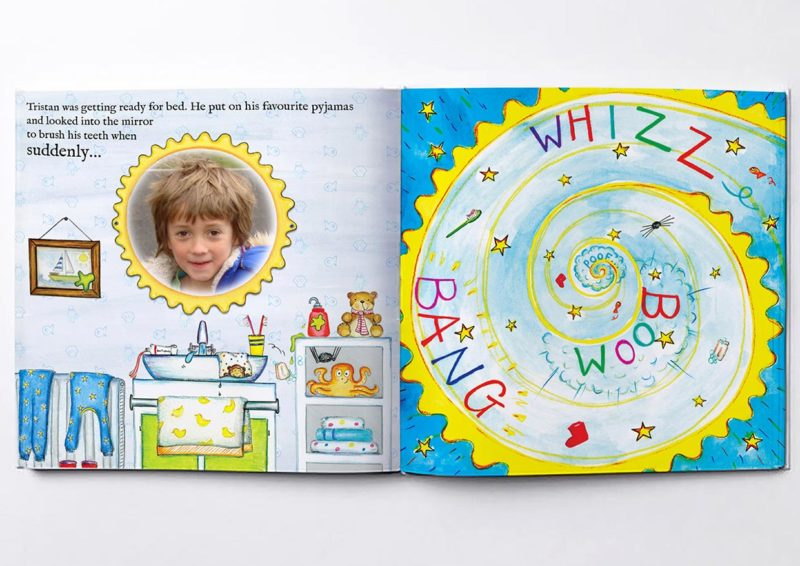 Personalised picture in image of mirror and the opening of the magic personalised story world
