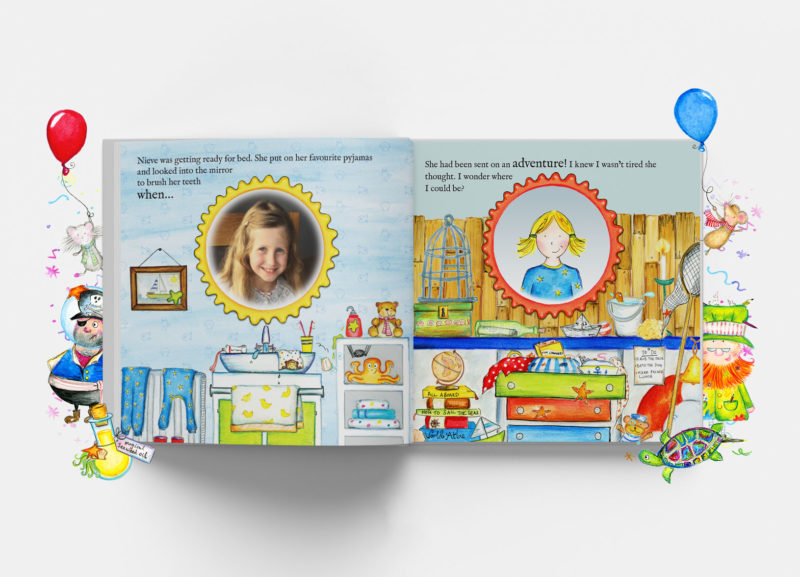 Book spread showing customisation options