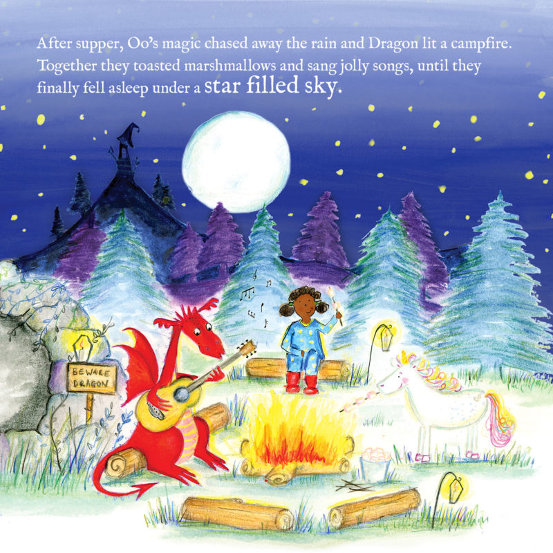 Unicorn Oo round a campfire with personalised character