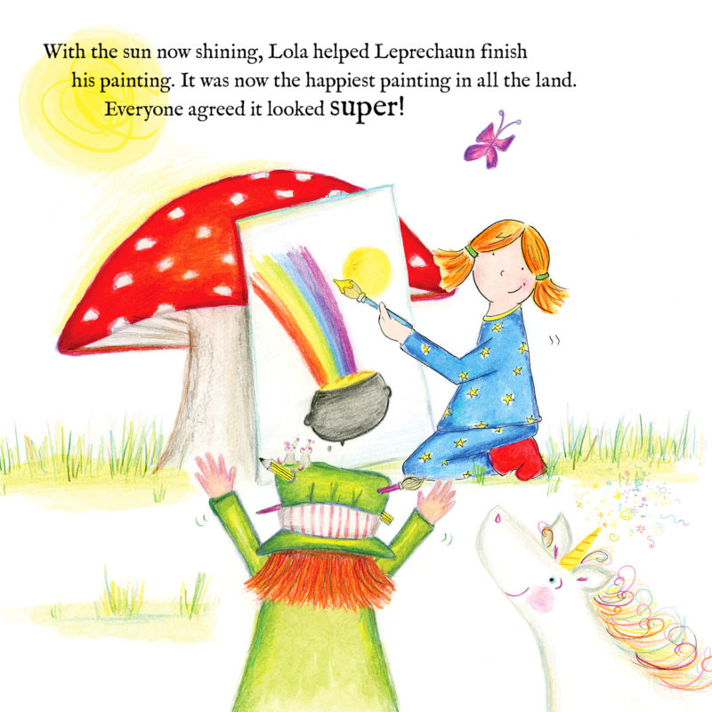Personalised Character painting a pot of gold at the end of the rainbow