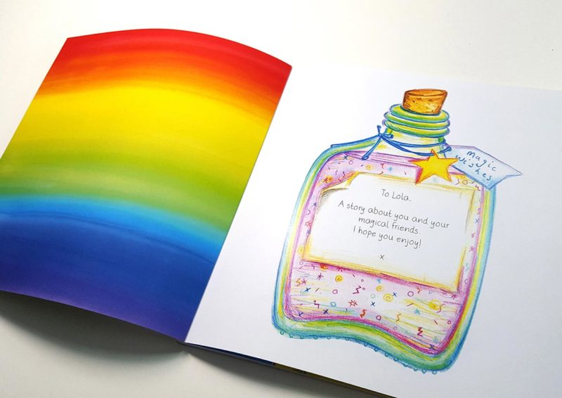 Personalised dedication page for the customisable book Unicorn Oo