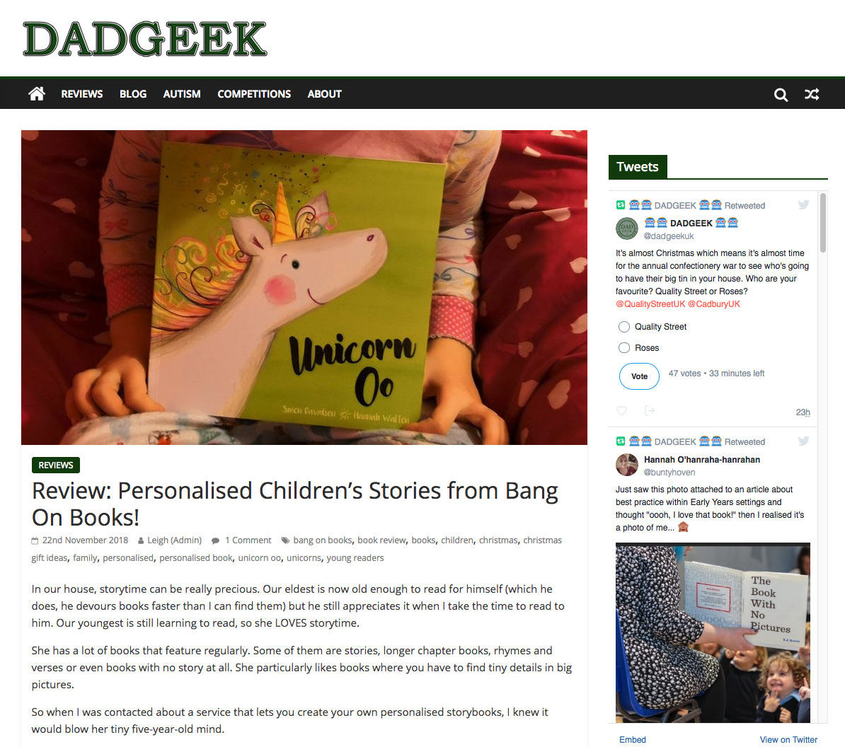 dadgeek blog review of unicorn oo