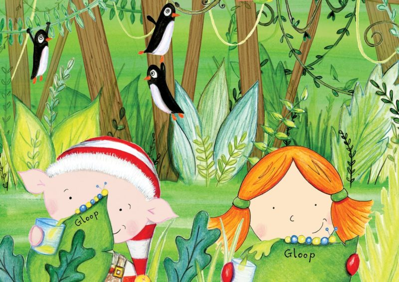 Illustration showing a personalized character from Santa Socks in a jungle scene with an elf and penguins.