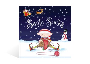 The front cover of Santa Socks, a personalised Christmas adventure story book from Bang on Books