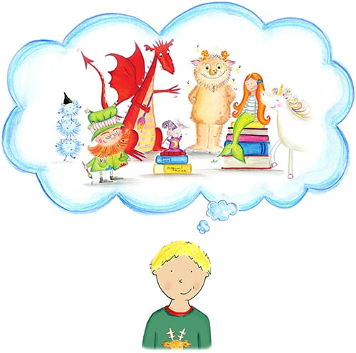Little blonde boy imagining the Unicorn, Dragon troll and mermaid from Bang on Books