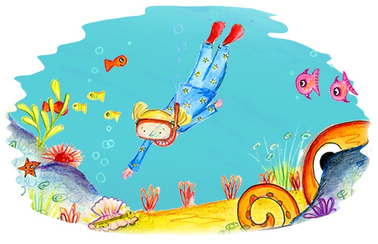 Hand drawn illustration of an underwater sea scene showing a personalised character from the pirate adventure story book, The Golden Key