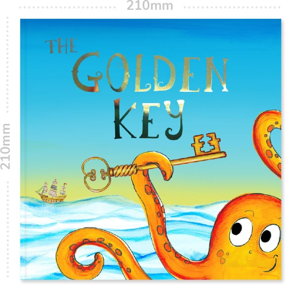 Book cover of the pirate adventure The Golden Key with it's dimensions of 210mm by 210mm