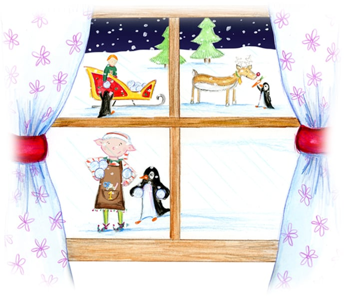 Illustration depicting a window and outside is a cute elf and Santa Claus' sleigh from the Christmas story Santa Socks
