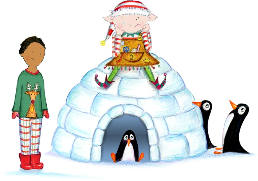Hero trying to help the sad elf sitting on the penguins igloo, from the Christmas adventure story Santa Socks from bang on Books