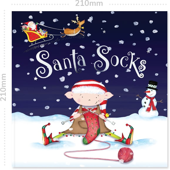 Front cover of the personalised book Santa Socks showing the measurements of 210mm to the side and above