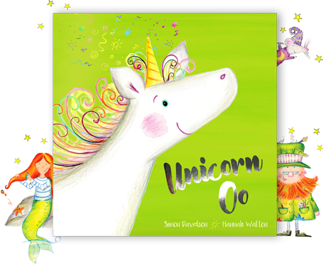 Image showing the magical adventure book Unicorn Oo, with friendly characters all around it