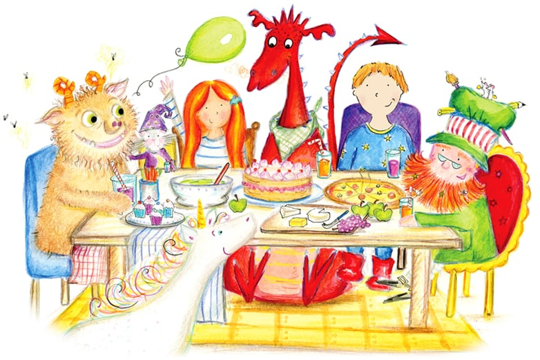 Hero child having a party with Unicorn Oo, troll, mermaid, dragon and leprechaun from the personalised fantasy adventure story book Unicorn Oo from Bang on Books