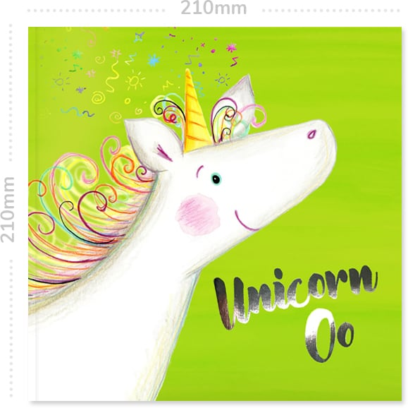 Front cover of the personalised adventure book Unicorn Oo showing the 210mm dimensions